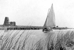 The Mayfly in April 1951 passing St Benet's Abbey. Kindly donated by John Gaisford.